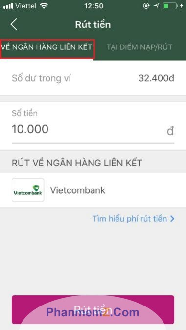 Chọn tài khoản ngân hàng liên kết với ví Momo