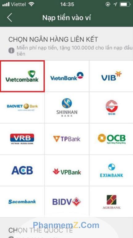 Các ngân hàng cho phép liên kết với ví Momo