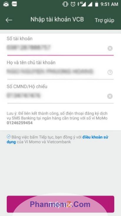 Nhập số tài khoản ngân hàng để liên kết với ví Momo