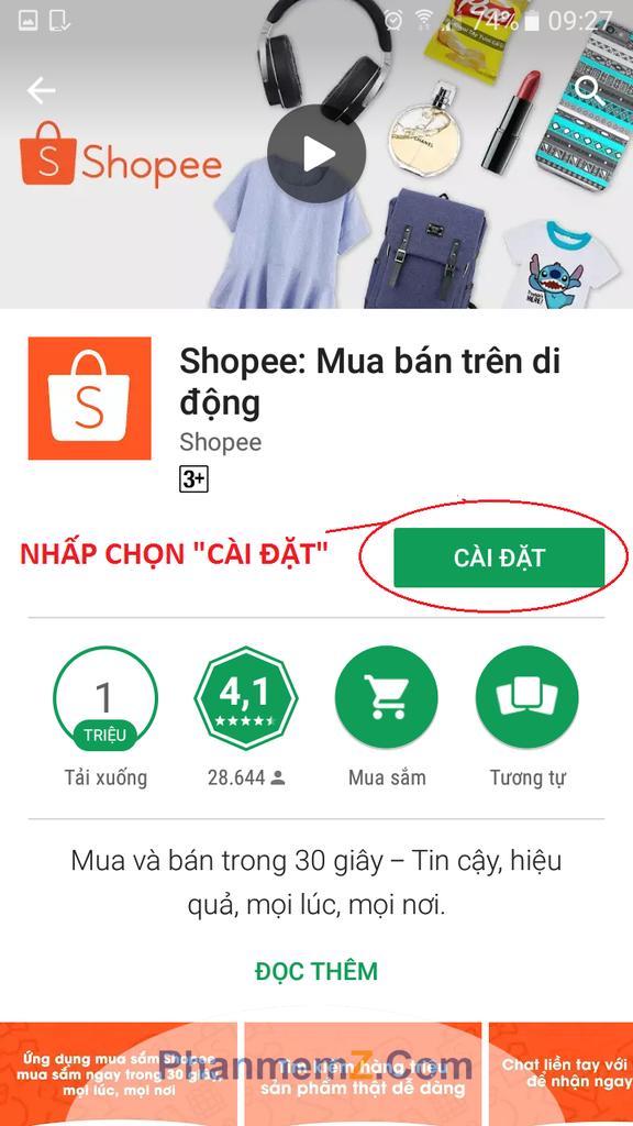 """Nhận chọn ô """"Cài đặt"""" để tải ứng dụng Shopee về điện thoại"""