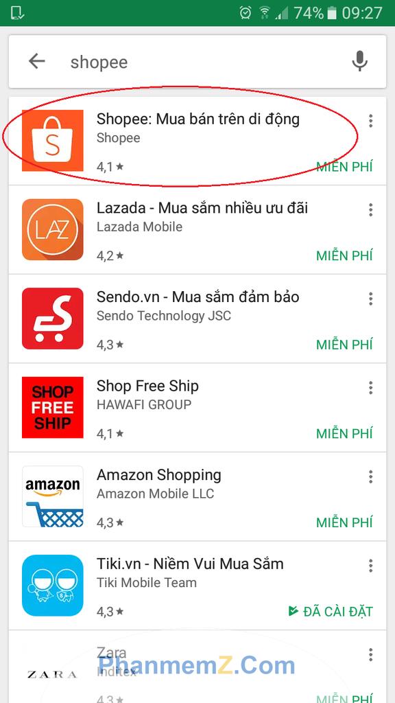 Ứng dụng Shopee ở khoanh tròn đỏ