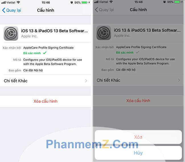 Xoá cấu hình iOS 13 bản Developer