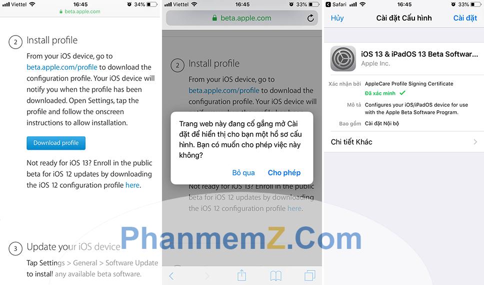 Cài đặt hệ điều hành iOS 13 bản Public Beta