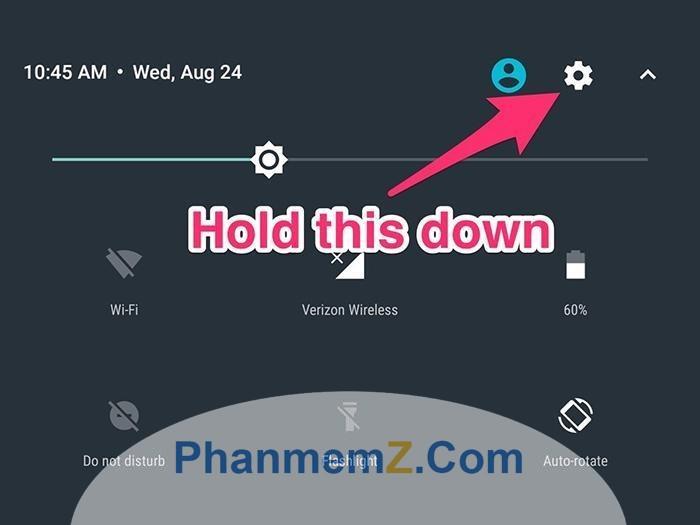 Nhấn vào biểu tượng hình răng cưa để cài đặt System UI Tuner