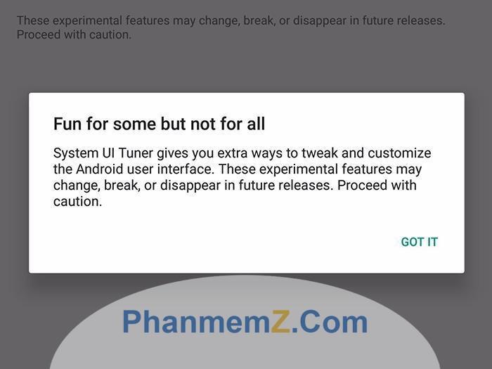 Người dùng nhận được cảnh báo khi lần đầu vào System UI Tuner