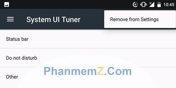 Cửa sổ System UI Tuner xuất hiện với các tuỳ chọn khác nhau