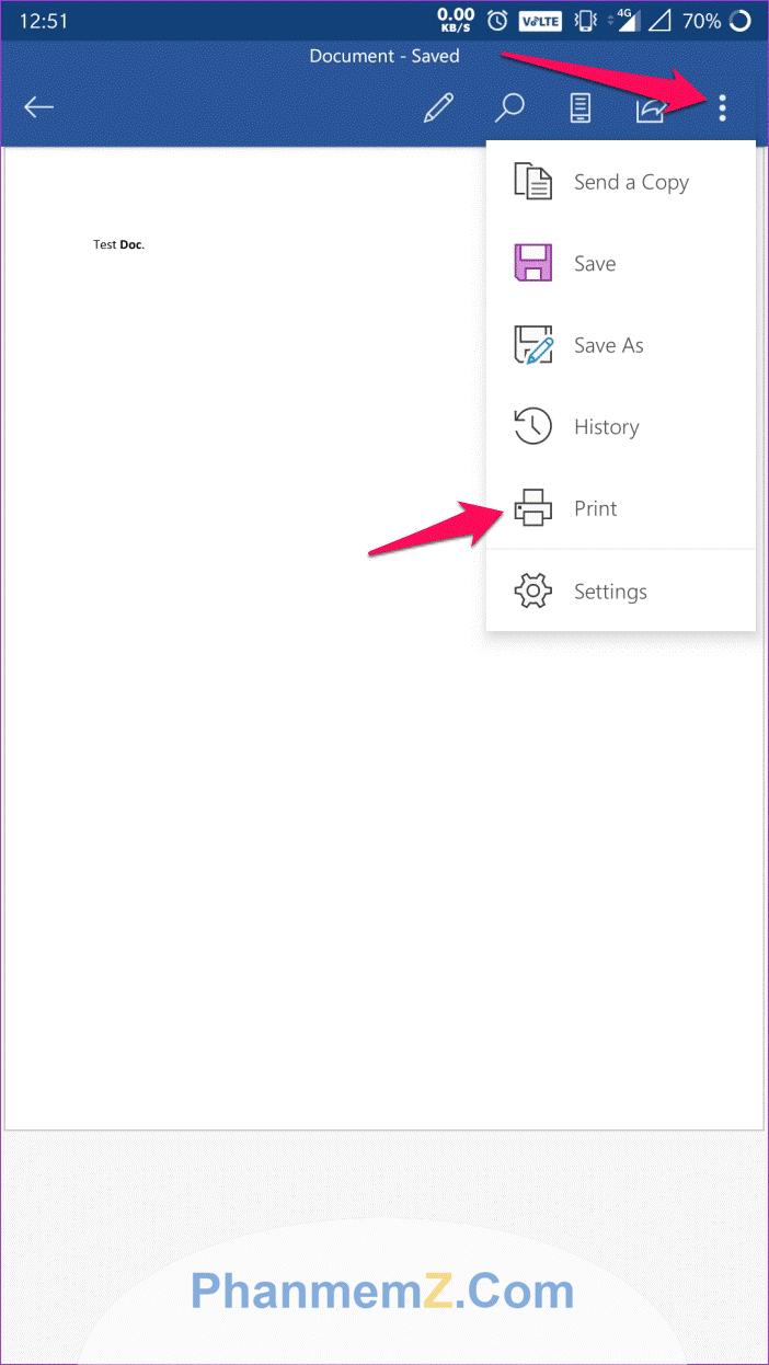 """Chọn mục """"Print"""" để chuyển file word thành PDF"""