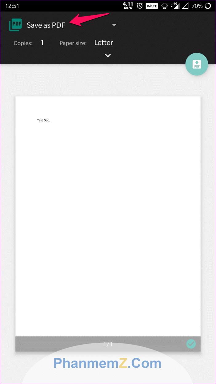 """Ấn vào """"Save as PDF"""" để lưu file word dưới dạng PDF"""