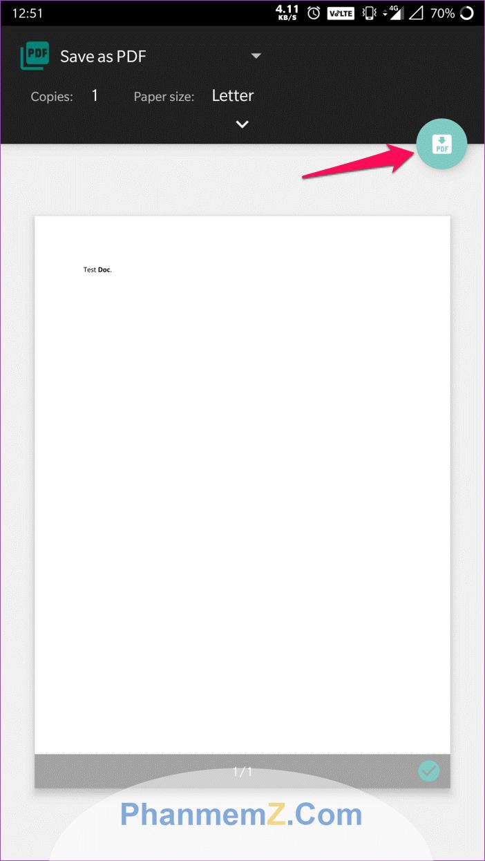 Click vào biểu tượng PDF