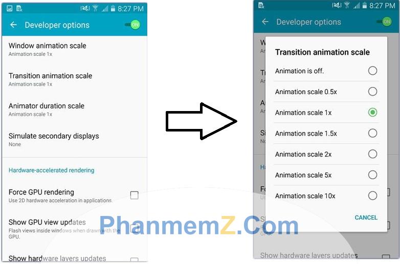 Vào mục Developer để giảm hoặc vô hiệu hoá amimation