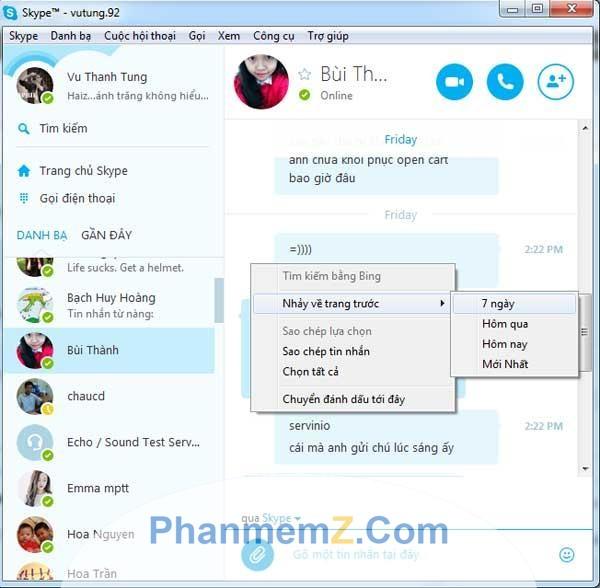 Giao diện chính của Skype