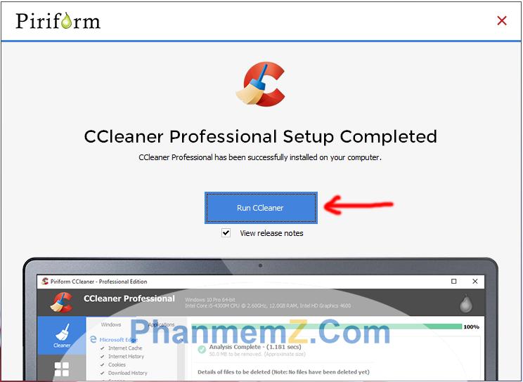 Giao diện rất dễ sử dụng của phần mềm Ccleaner