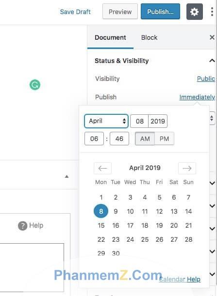 Bảng thời gian hiện ra bạn lựa chọn ngày/tháng/năm để đặt lịch post bài trong wordpress
