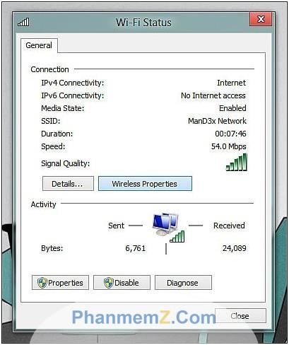 Hiển thị hộp thoại Wireless Properties