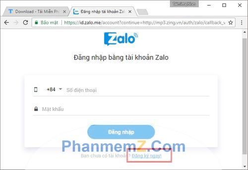 Bạn có thể kết nối với Zing bằng cách sử dụng tài khoản Zalo