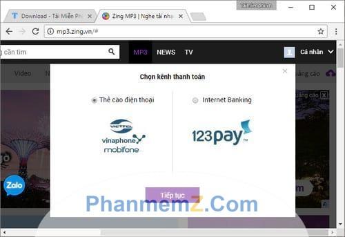 Chọn hình thức thanh toán qua thẻ cào điện thoại hay Internet banking.