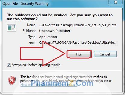 Chọn Run để cài đặt phần mềm UltraViewer