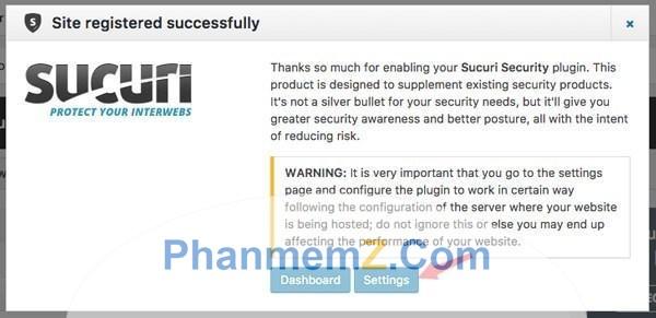 Đăng ký thành công Sucuri Security