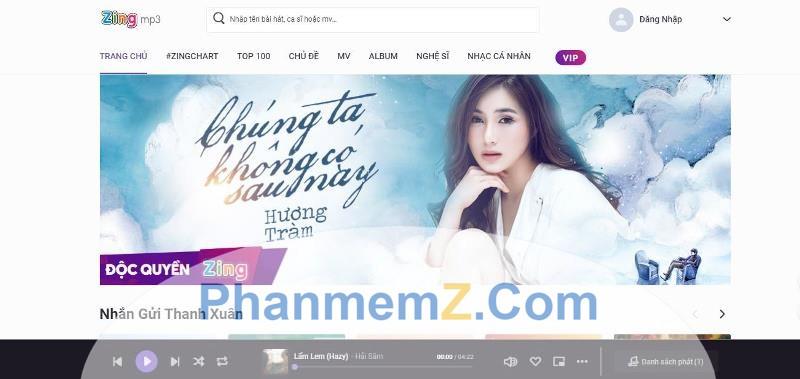 Khi vừa truy cập vào trang web này, một bài hát đang được giới thiệu trên Zing sẽ được mở tự động