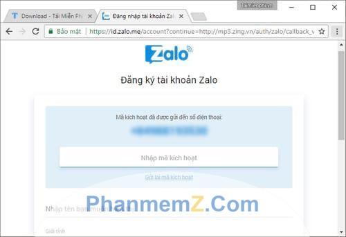 Nhập mã kích hoạt được gửi tới số điện thoại mà bạn đăng ký Zalo