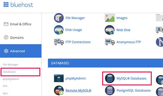 Xem thông tin kết nối Database trong bảng điều khiển hosting của nhà cung cấp Bluehost